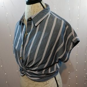 Grey and Pink Stripped Collared Crop Top